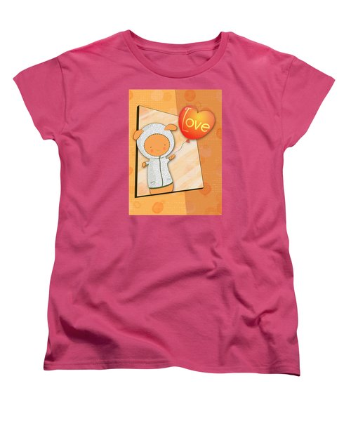 Women's T-Shirt (Standard Cut) featuring the photograph Cute Lots Of Love Love You Cute Character Holding A Love Balloons  by Lenny Carter