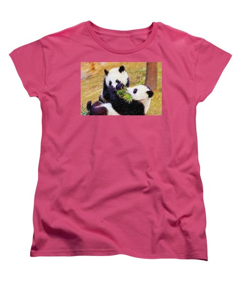 Women's T-Shirt (Standard Cut) featuring the painting Cute Pandas Play Together by Lanjee Chee