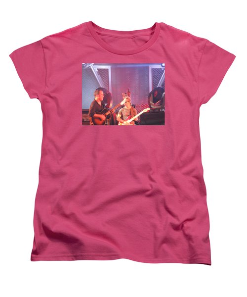 Women's T-Shirt (Standard Cut) featuring the photograph Dave And Tim Jam On The Guitar by Aaron Martens