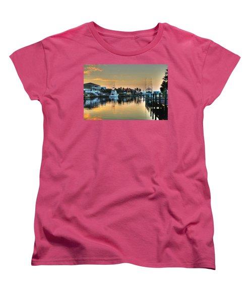 Women's T-Shirt (Standard Cut) featuring the photograph Dawn On A Orange Beach Canal by Michael Thomas