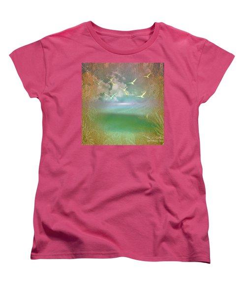 Day At The Beach Abstract Women's T-Shirt (Standard Cut) by Judy Palkimas
