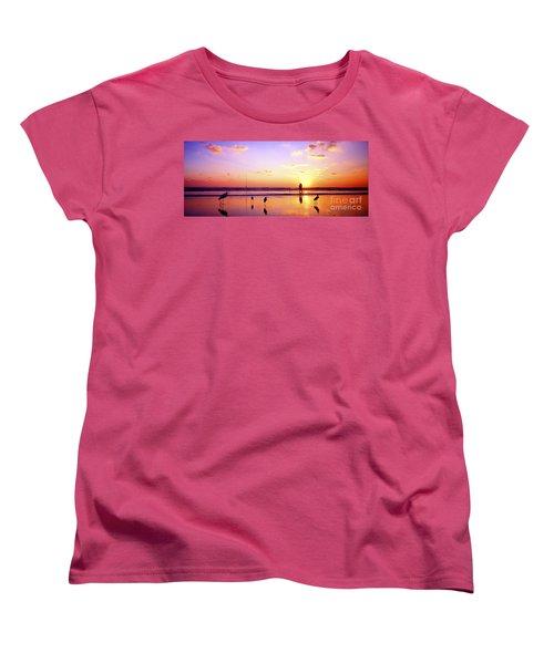 Women's T-Shirt (Standard Cut) featuring the photograph Daytona Beach Fl Surf Fishing And Birds by Tom Jelen