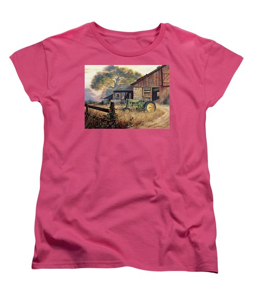 Women's T-Shirt (Standard Cut) featuring the painting Deere Country by Michael Humphries