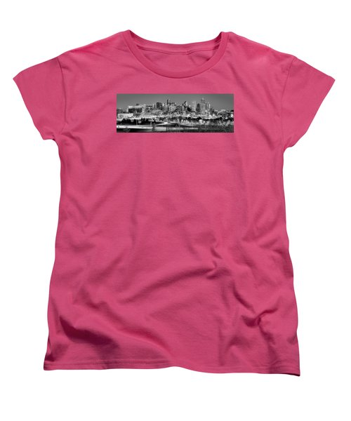 Women's T-Shirt (Standard Cut) featuring the photograph Denver Skyline At Dusk Evening Bw Black And White Evening Panorama Broncos Colorado  by Jon Holiday