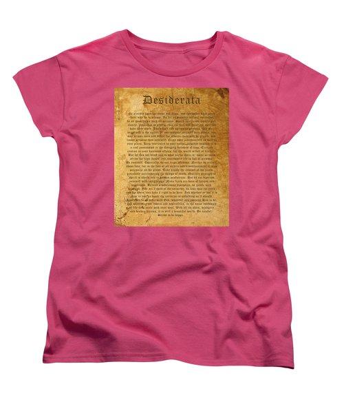 Desiderata Women's T-Shirt (Standard Cut) by Kurt Van Wagner
