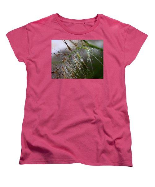 Women's T-Shirt (Standard Cut) featuring the photograph Dew On Fountain Grass by Joe Schofield