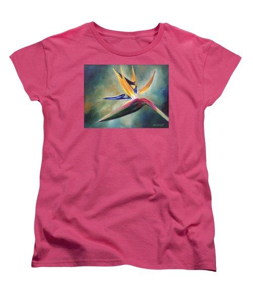 Women's T-Shirt (Standard Cut) featuring the painting Dj's Flower by Lori Brackett