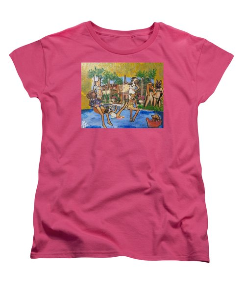 Women's T-Shirt (Standard Cut) featuring the painting Dog Days Of Summer by Lisa Piper