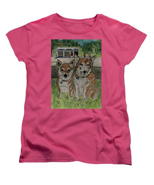 Women's T-Shirt (Standard Cut) featuring the painting Dogs In Front Of The Gulf Station by Kathy Marrs Chandler