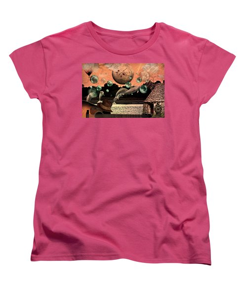 Women's T-Shirt (Standard Cut) featuring the mixed media Dolphin Dreams by Ally  White