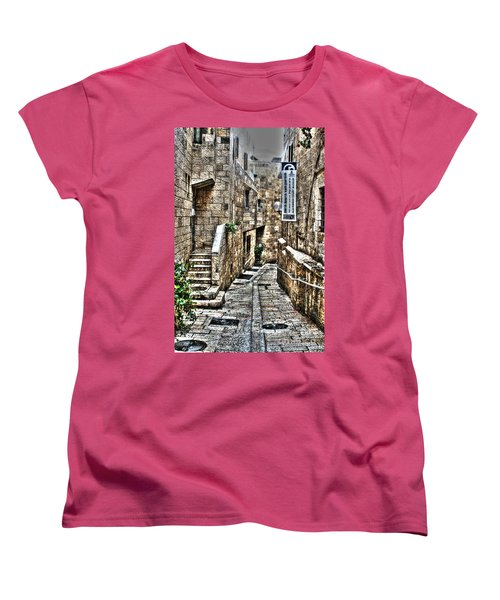 Women's T-Shirt (Standard Cut) featuring the photograph Downtown In Jerusalems Old City by Doc Braham