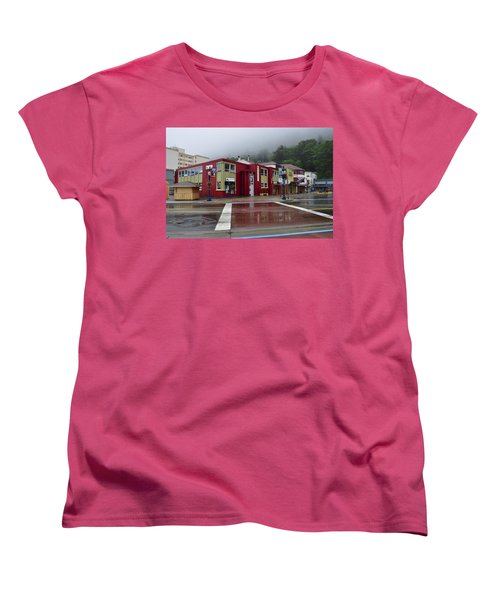 Women's T-Shirt (Standard Cut) featuring the photograph Downtown Juneau On A Rainy Day by Cathy Mahnke
