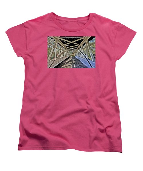 Women's T-Shirt (Standard Cut) featuring the photograph Dr. Knisely Covered Bridge by Suzanne Stout