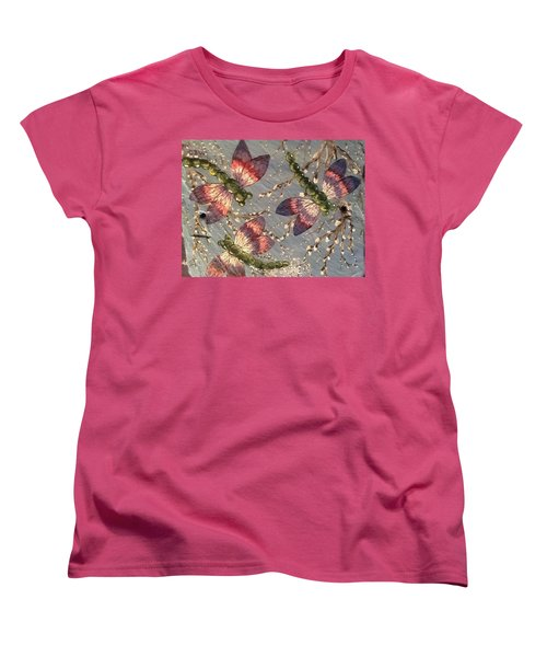 Women's T-Shirt (Standard Cut) featuring the painting Dragonflies 5 by Megan Walsh