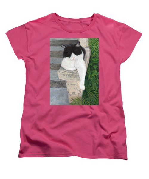 Women's T-Shirt (Standard Cut) featuring the painting Dreaming Of Stone Lions by Pat Erickson