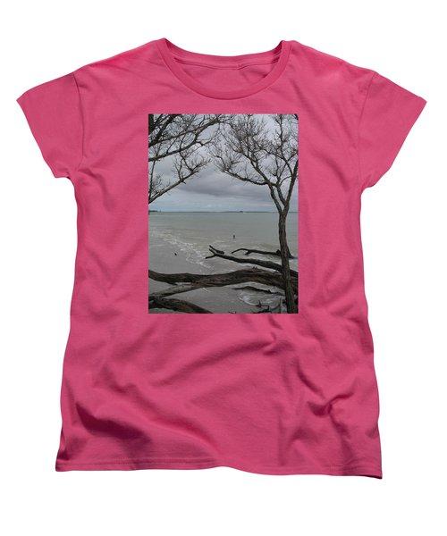 Driftwood On The Beach Women's T-Shirt (Standard Cut) by Christiane Schulze Art And Photography
