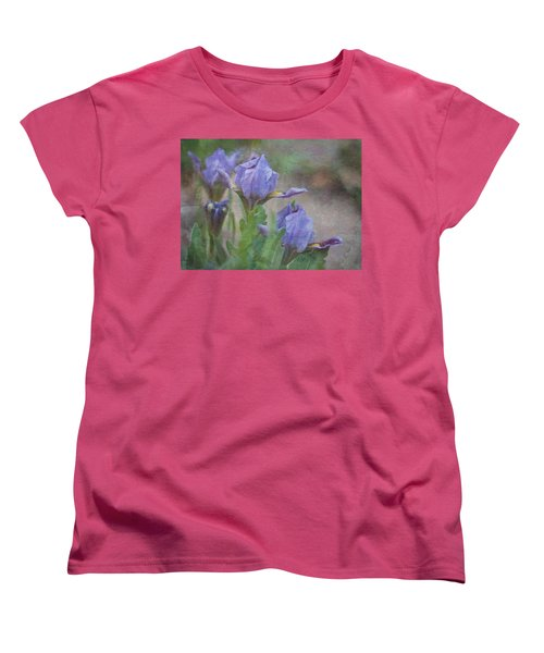 Women's T-Shirt (Standard Cut) featuring the photograph Dwarf Iris With Texture by Patti Deters