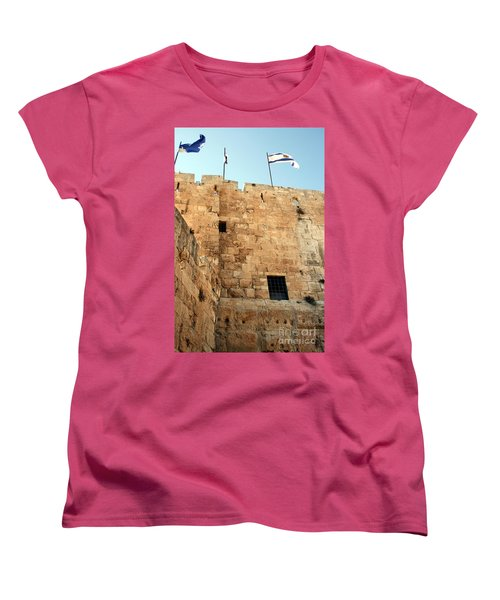 Women's T-Shirt (Standard Cut) featuring the photograph Early Morning At The Jaffa Gate by Doc Braham