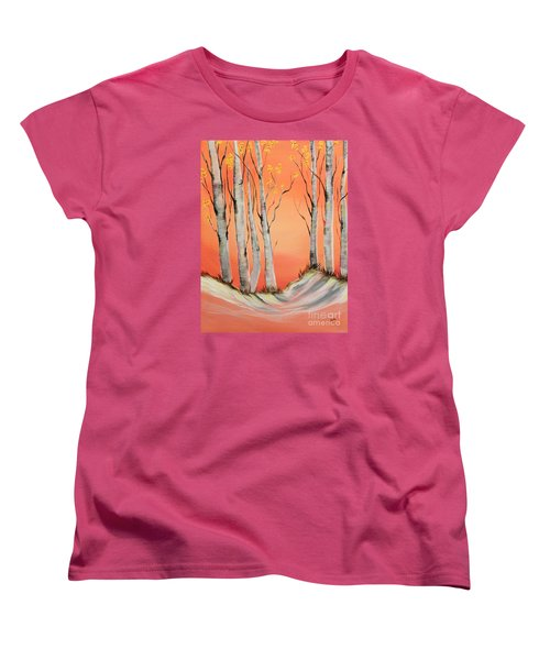 Women's T-Shirt (Standard Cut) featuring the painting Early Winter Aspen by Janice Rae Pariza