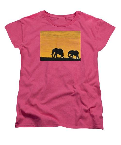 Elephants - At - Sunset Women's T-Shirt (Standard Cut) by D Hackett