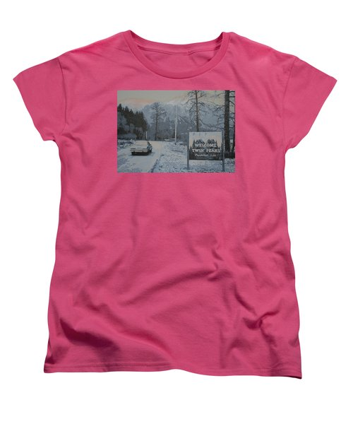 Women's T-Shirt (Standard Cut) featuring the painting Entering The Town Of Twin Peaks 5 Miles South Of The Canadian Border by Luis Ludzska