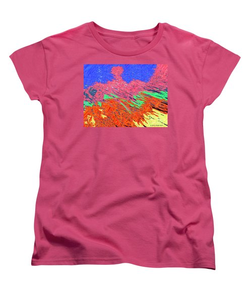 Erupting Lava Meets The Sea Women's T-Shirt (Standard Cut) by Joseph Baril