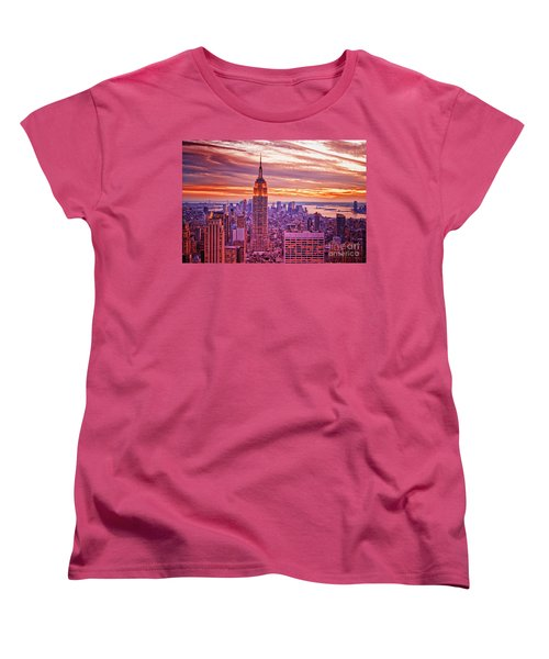 Evening In New York City Women's T-Shirt (Standard Cut) by Sabine Jacobs