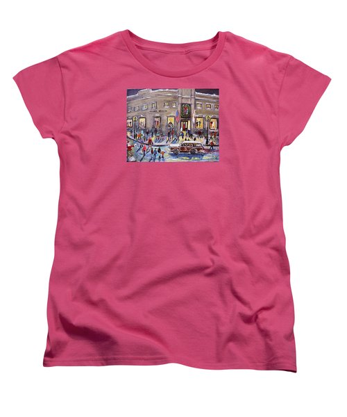 Evening Shopping At Grover Cronin Women's T-Shirt (Standard Cut) by Rita Brown