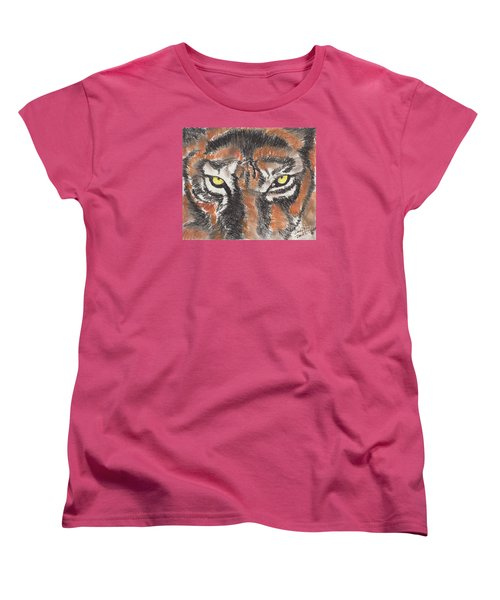 Women's T-Shirt (Standard Cut) featuring the pastel Eye Of The Tiger by David Jackson