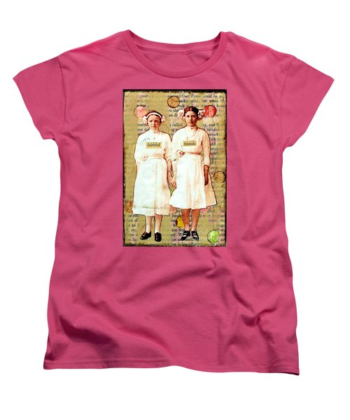Women's T-Shirt (Standard Cut) featuring the mixed media Faithful Friends by Desiree Paquette