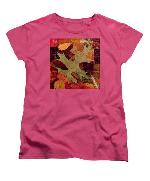Fall Leaf Collage Women's T-Shirt (Standard Cut) by Anna Ruzsan