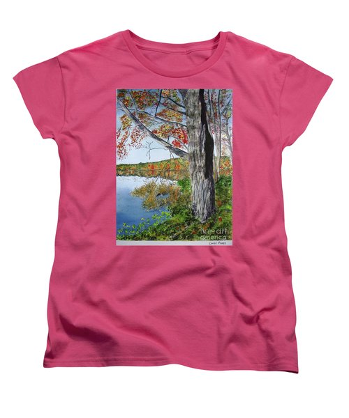 Women's T-Shirt (Standard Cut) featuring the painting Fall Tree by Carol Flagg