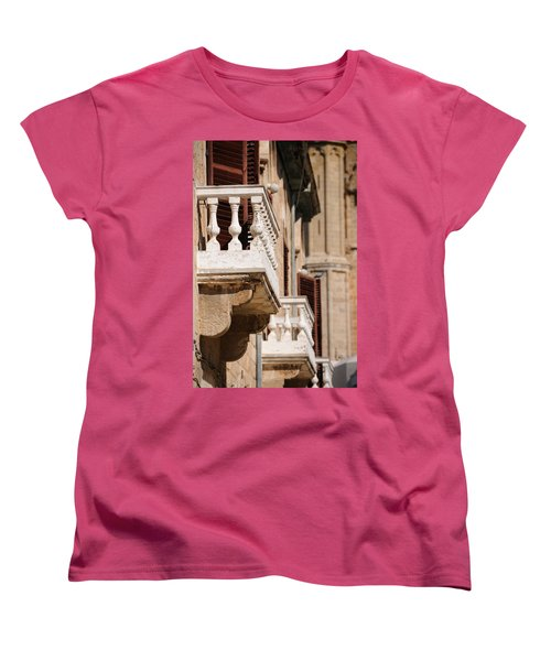 Women's T-Shirt (Standard Cut) featuring the photograph Famagusta Balconies by Jeremy Voisey