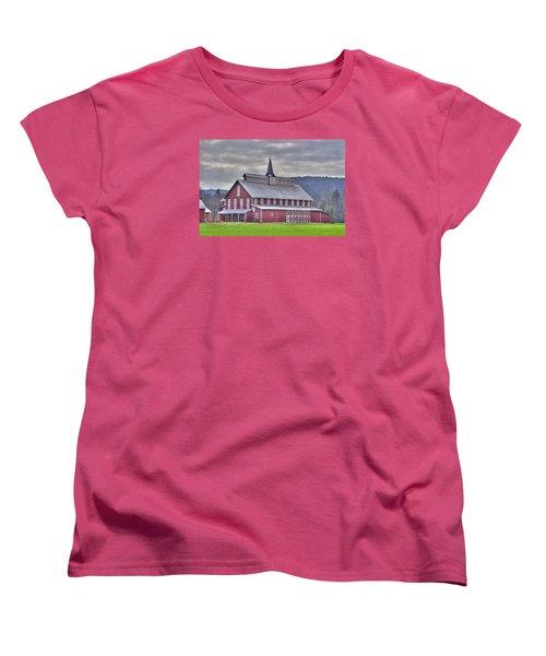 Fancy Red Barn Women's T-Shirt (Standard Cut) by Shelly Gunderson