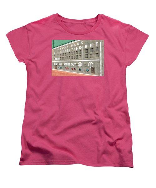 Fenway Park Scoreboard Women's T-Shirt (Standard Cut) by Susan Candelario
