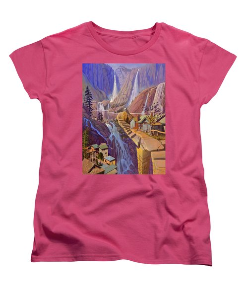 Women's T-Shirt (Standard Cut) featuring the painting Fibonacci Stairs by Art James West