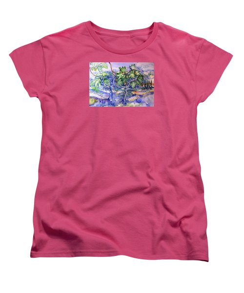 Fig Tree And Olive Trees In A Tuscan Garden Women's T-Shirt (Standard Cut) by Trudi Doyle