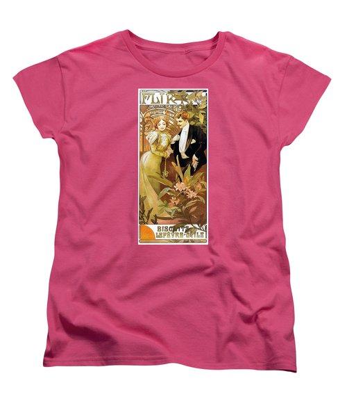 Flirt Women's T-Shirt (Standard Cut) by Alphonse Mucha