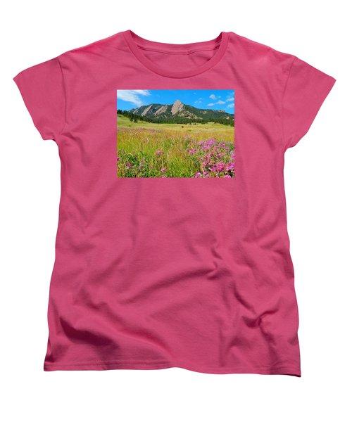 The Flatirons Colorado Women's T-Shirt (Standard Cut) by Dan Miller