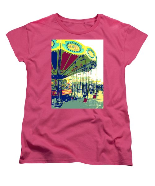 Women's T-Shirt (Standard Cut) featuring the digital art Flying Chairs by Valerie Reeves