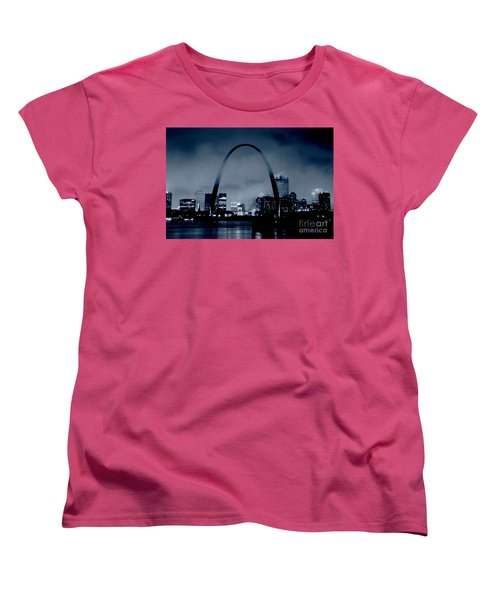 Fog Over St Louis Monochrome Women's T-Shirt (Standard Cut) by Garry McMichael