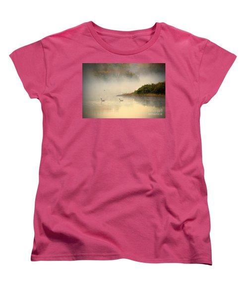 Foggy Autumn Swim Women's T-Shirt (Standard Cut) by Elizabeth Winter