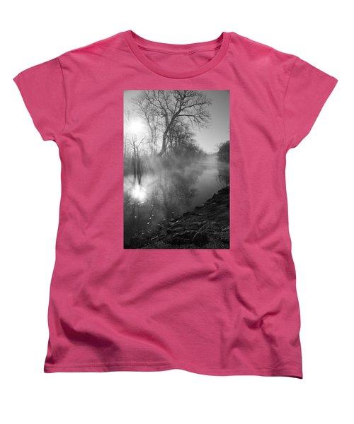 Foggy River Morning Sunrise Women's T-Shirt (Standard Cut) by Jennifer White