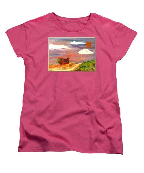 Women's T-Shirt (Standard Cut) featuring the painting Folk Art by Bobbee Rickard