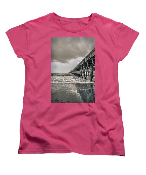 Women's T-Shirt (Standard Cut) featuring the photograph Folly Beach Pier by Sennie Pierson