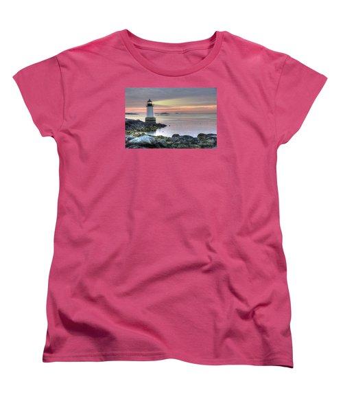 Fort Pickering Lighthouse At Sunrise Women's T-Shirt (Standard Cut) by Juli Scalzi