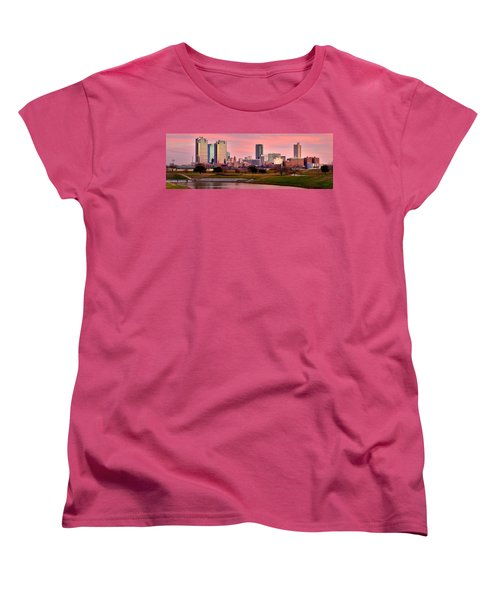 Women's T-Shirt (Standard Cut) featuring the photograph Fort Worth Skyline At Dusk Evening Color Evening Panorama Ft Worth Texas  by Jon Holiday