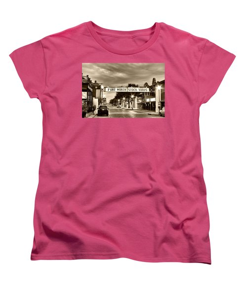Fort Worth Stock Yards In Sepia Women's T-Shirt (Standard Cut)