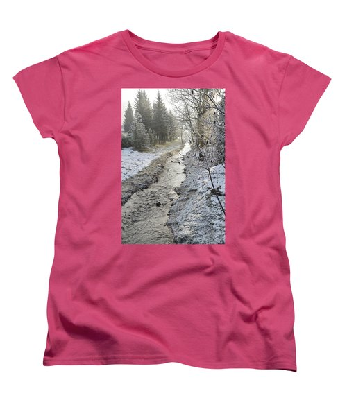 Women's T-Shirt (Standard Cut) featuring the painting Frozen Air by Felicia Tica