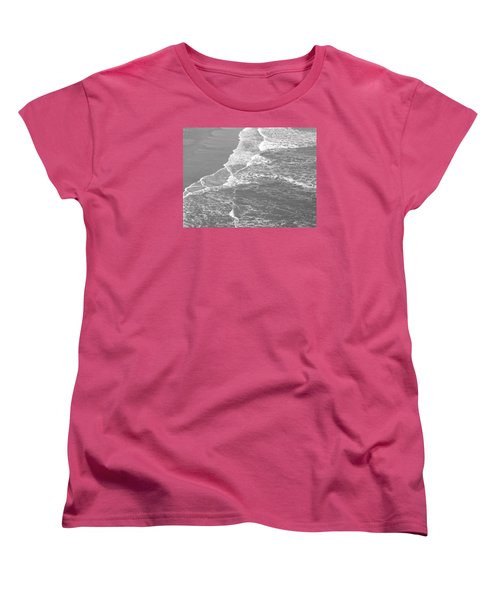 Galveston Tide In Grayscale Women's T-Shirt (Standard Cut) by Connie Fox
